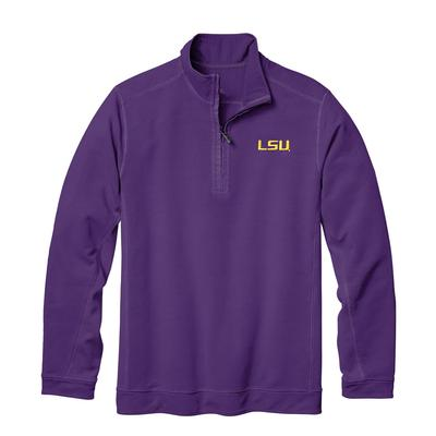 LSU Tommy Bahama Ben & Terry Coast Core Half Zip Pullover