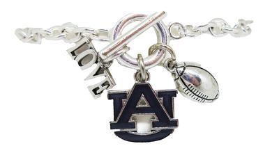 Auburn Love and Football Bracelet