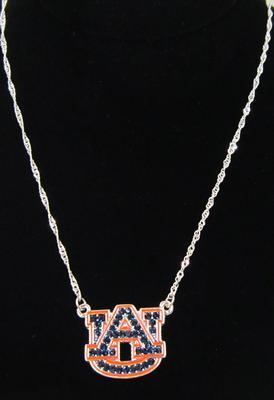 Auburn Rhinestone Logo Necklace