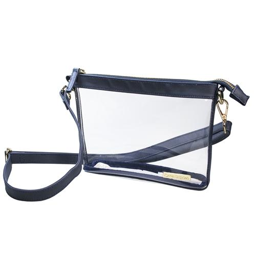 Navy Game Day Clear Crossbody Bag