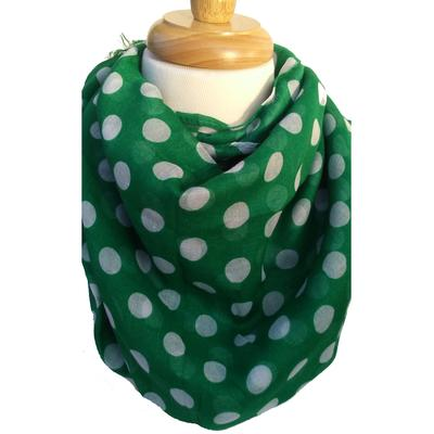 Green and White Polka Dot Scarf