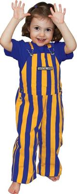Purple and Gold Toddler Game Bibs Striped Overalls