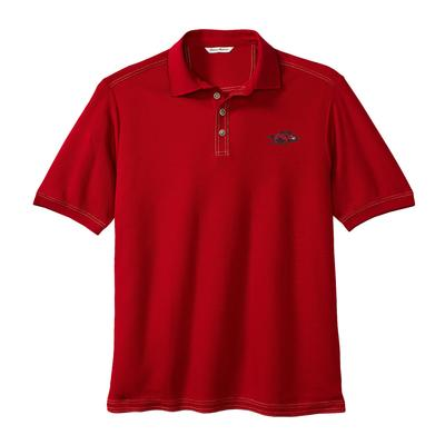 Arkansas Tommy Bahama Emfielder Core Polo CHILI_PEPPER