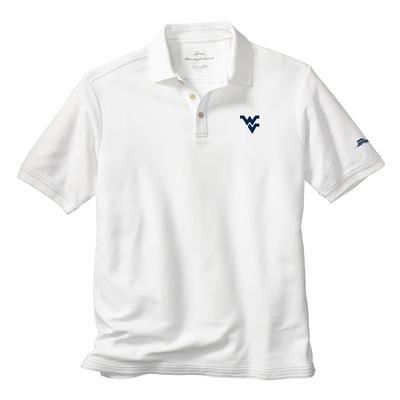 West Virginia Tommy Bahama Emfielder Core Polo WHITE