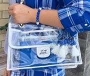 Silver And Royal Evie Chain Clear Bag With Tassel