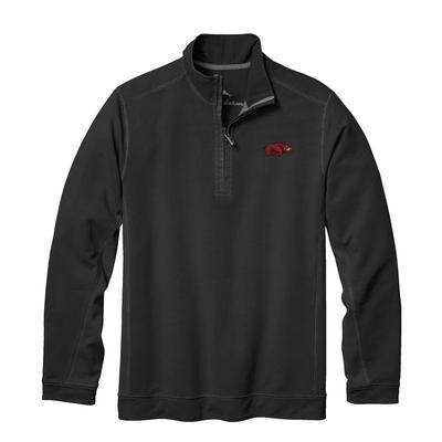 Arkansas Tommy Bahama Ben & Terry Coast Core Half Zip Pullover BLACK
