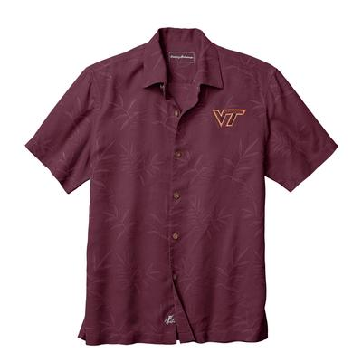 Virginia Tech Tommy Bahama Luau Floral Core Camp Shirt