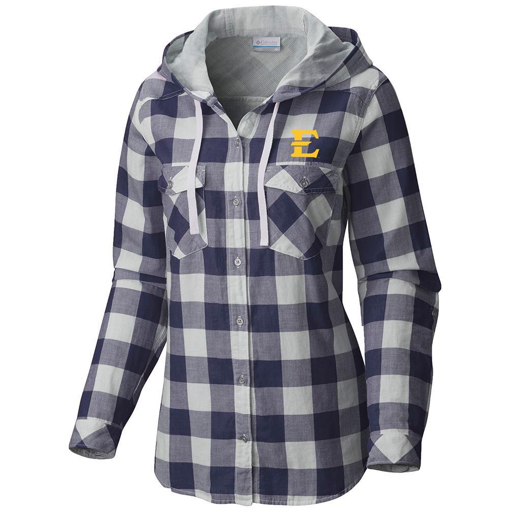 Etsu Columbia Women's Times Two Hooded Long Sleeve Flannel Shirt