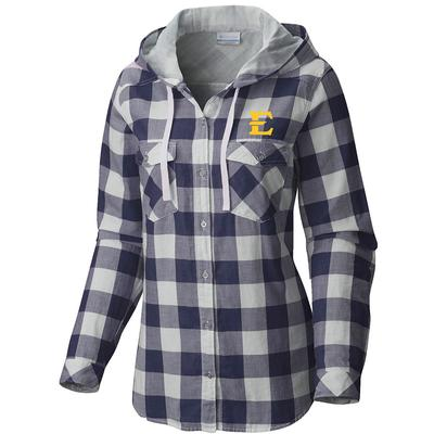 ETSU Columbia Women's Times Two Hooded Long Sleeve Flannel Shirt
