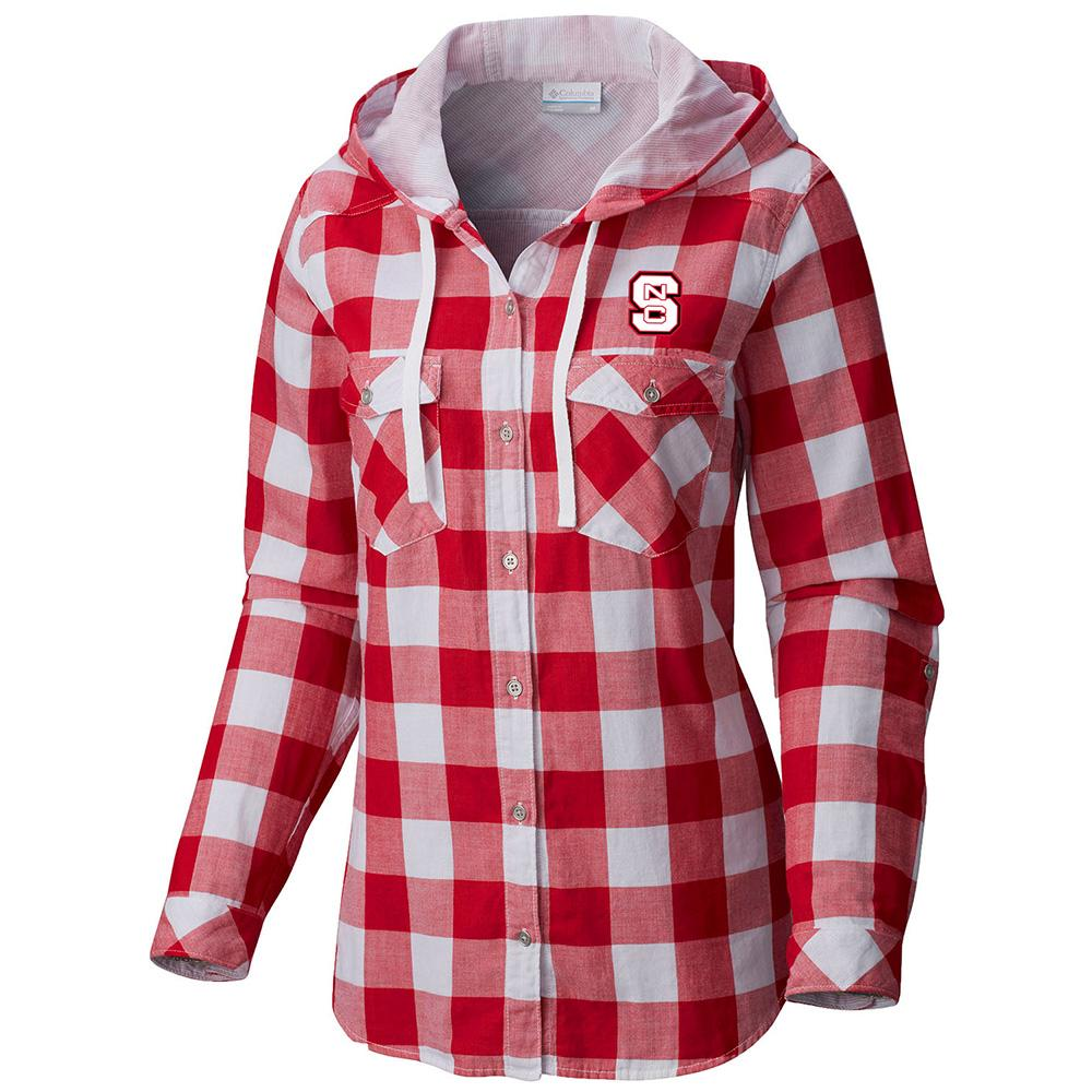 Nc State Columbia Women's Times Two Hooded Long Sleeve Flannel Shirt