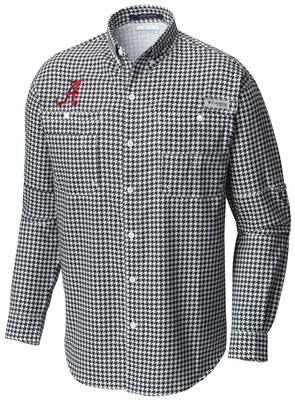 Alabama Columbia Long Sleeve Super Tamiami Woven Shirt HOUNDSTOOTH