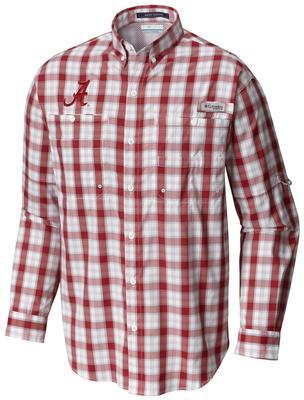 Alabama Columbia Long Sleeve Super Tamiami Woven Shirt RED_VELVET_PLAID