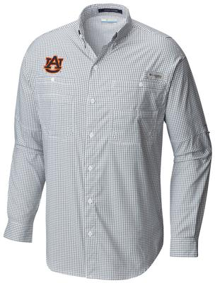 Auburn Columbia Long Sleeve Super Tamiami Woven Shirt NAVY_GINGHAM