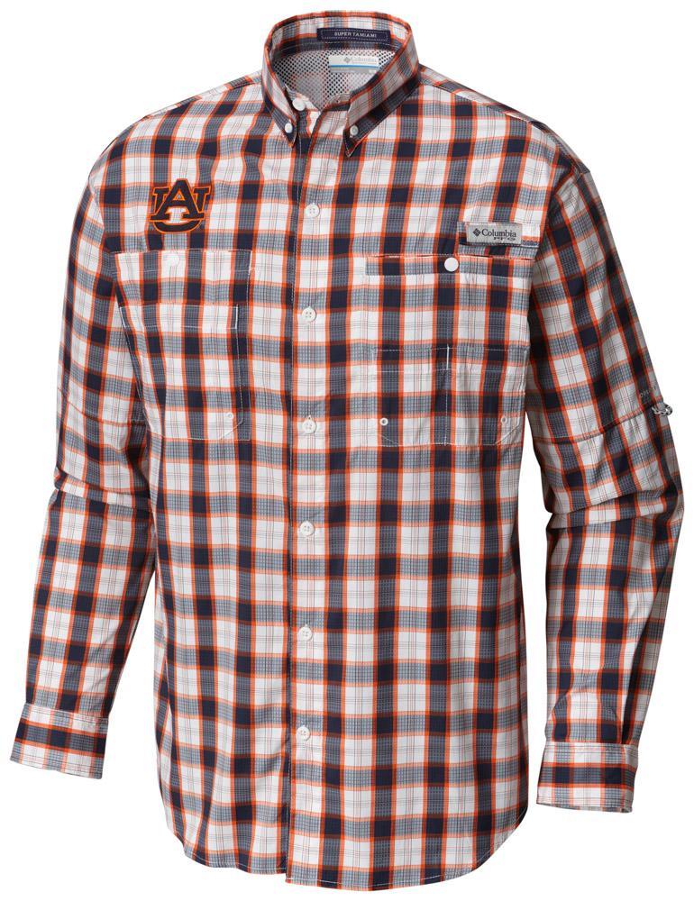 Auburn Columbia Long Sleeve Super Tamiami Woven Shirt