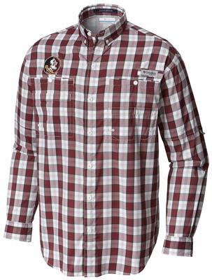 Florida State Columbia Long Sleeve Super Tamiami Woven Shirt CABERNET_PLAID