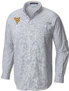West Virginia Columbia Long Sleeve Super Tamiami Woven Shirt