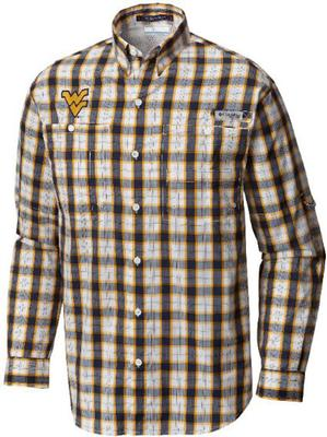 West Virginia Columbia Long Sleeve Super Tamiami Woven Shirt NAVY_PLAID