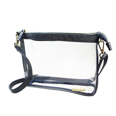 Large Navy and Clear Crossbody Bag