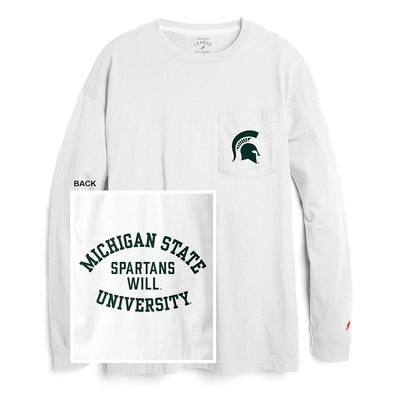 Michigan State League Women's Campus Long Sleeve Pocket Tee WHITE