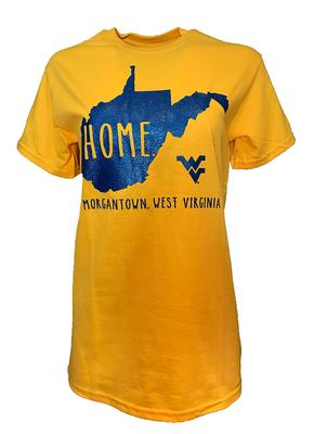West Virginia Women's Distressed State Logo Tee