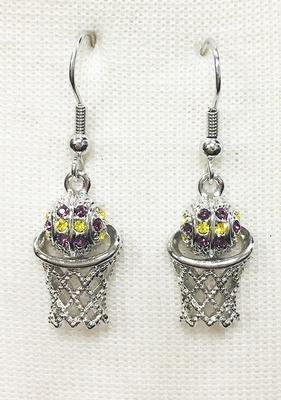Purple And Gold Crystal Basketball Earrings