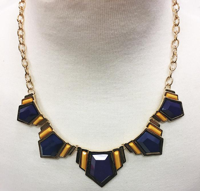 Purple And Gold Aztec Statement Necklace