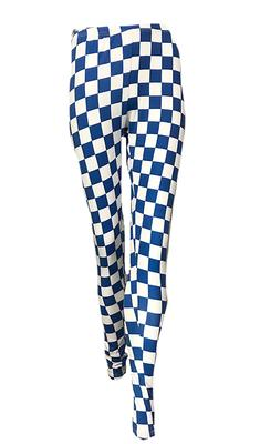 Royal and White Women's Checkerboard Leggings