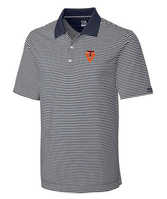 Virginia Tech Cutter And Buck DryTec Alt Logo Trevor Stripe Polo