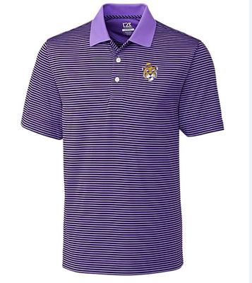 LSU Cutter And Buck DryTec Trevor Stripe Alt Logo Polo