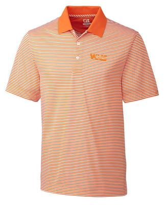 Tennessee Cutter And Buck DryTec VOLS Logo Trevor Stripe Polo