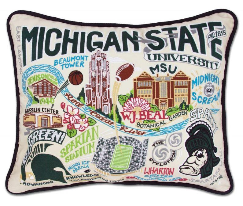 Michigan State Hand Embroidered Pillow