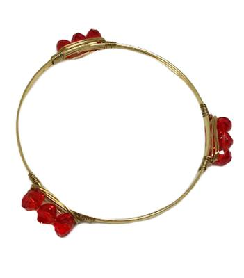 Red Beaded Gold Wire Bracelet