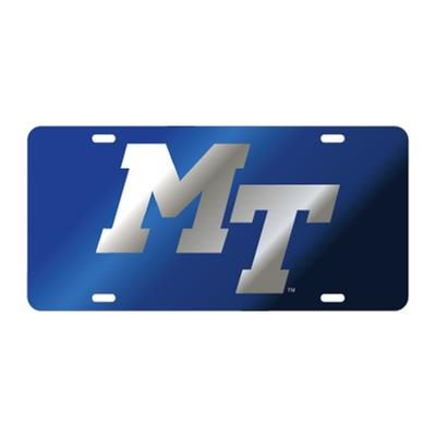 MTSU License Plate Royal with Silver MT