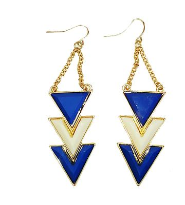 Royal And White Aztec Earrings