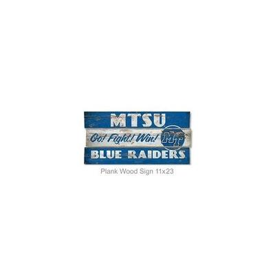 MTSU Legacy Go Fight Win Wooden Plank Sign