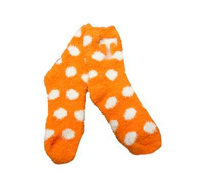 Orange and White Fuzzy Dot Sock