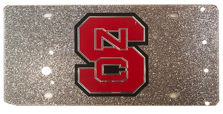 Nc State Silver Glitter License Plate