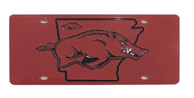 Arkansas Razorback State Outline Plate