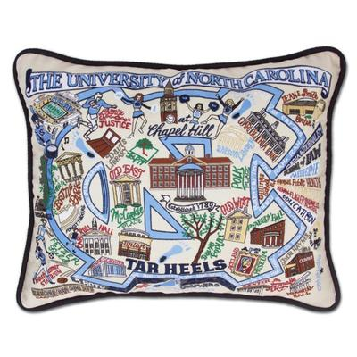 UNC Hand Embroidered Pillow