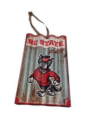 NC State Corrugated Metal Team Ornament