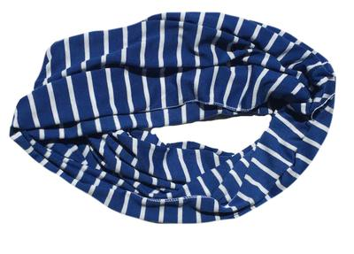 Royal and White Striped Infinity Scarf