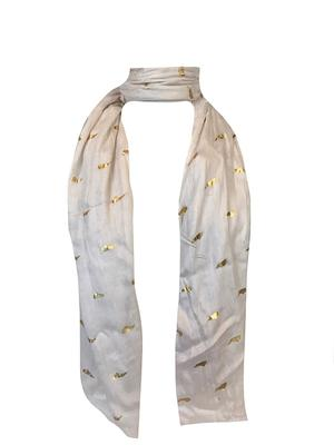North Carolina State Outline Gold Foil Scarf