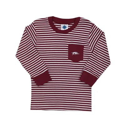 Arkansas Toddler Striped Long Sleeve Pocket Tee