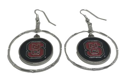 NC State Iridescent Disk Hoop Earrings