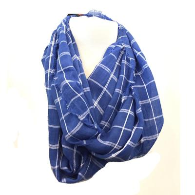 Blue and White Soft Plaid Scarf