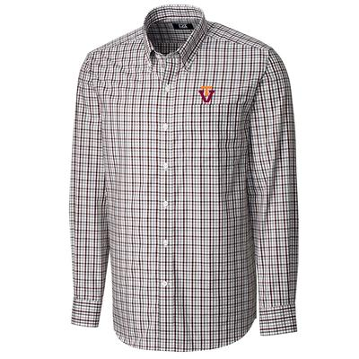 Virginia Tech Cutter And Buck Gilman Plaid Woven T Over V Logo