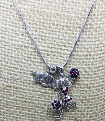 Arkansas Cheerleader Charm Necklace