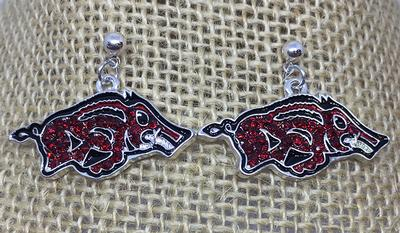 Arkansas Rhinestone Logo Earrings