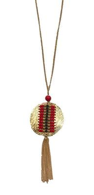 Red and Black Beaded Disk Tassel Necklace