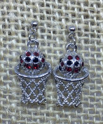 Red and Black Crystal Basketball Earrings